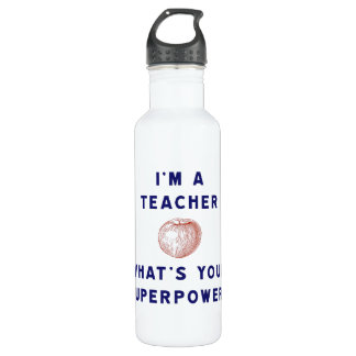 I'm a Teacher [apple] What's Your Superpower? Water Bottle