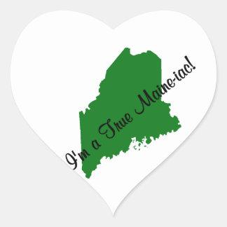 I'm a True Maine-iac! Green Heart Sticker