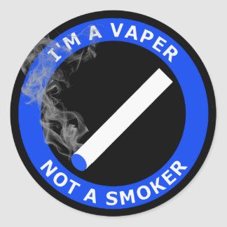 I'M A VAPER, NOT A SMOKER CLASSIC ROUND STICKER