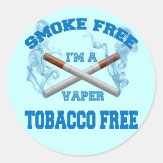 I'M A VAPER SMOKE FREE TOBACCO FREE CLASSIC ROUND STICKER