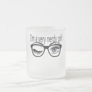 I'm a Very Nerdy Girl with Purple Eye Shadow Frosted Glass Coffee Mug