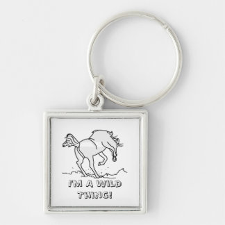 I'm A Wild Thing! Silver-Colored Square Keychain