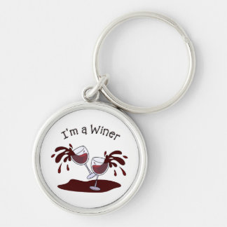 Im a Winer Silver-Colored Round Keychain