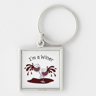 Im a Winer Silver-Colored Square Keychain