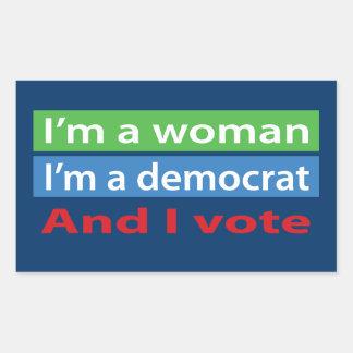 I'm a Woman and I Vote! Rectangular Sticker