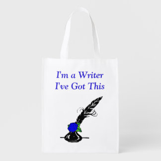 Im A Writer Black Blue Rose Ink Quill Grocery Grocery Bag
