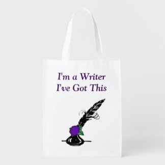 Im A Writer Black Purple Rose Ink Quill Grocery Grocery Bag