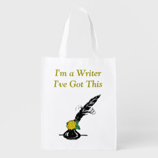 Im A Writer Black Yellow Rose Ink Quill Grocery Reusable Grocery Bag