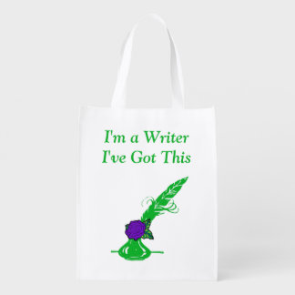 Im A Writer Dk Purple Rose Green Ink Quill Grocery Reusable Grocery Bag