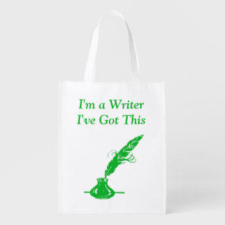 Im A Writer Ive Got This Green Ink Quill Grocery Grocery Bag