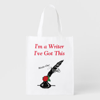 Im A Writer Ive Got This Ink Quill Rose Grocery Reusable Grocery Bag