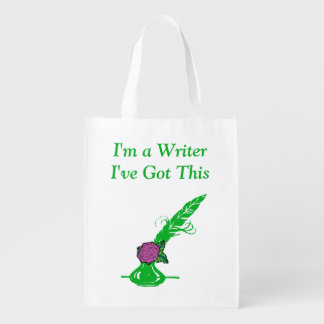 Im A Writer Lt Purple Rose Green Ink Quill Grocery Reusable Grocery Bag