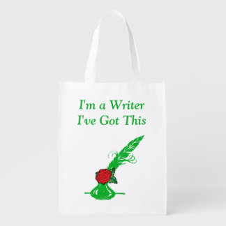 Im A Writer Red Rose Green Ink Quill Grocery Grocery Bag