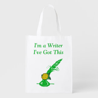 Im A Writer Yellow Rose Green Ink Quill Grocery Reusable Grocery Bag