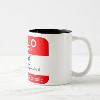 I'M A ZAZZLEaholic (HELLO MY NAME IS) Two-Tone Coffee Mug