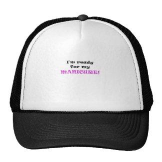 Im aliste para mi manicura gorras