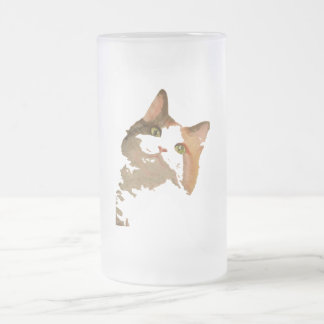 I'm All Ears: Calico Cat Portrait 16 Oz Frosted Glass Beer Mug
