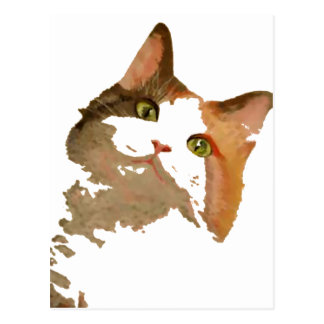 I'm All Ears: Calico Cat Portrait Postcard