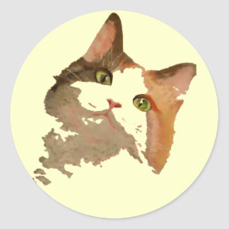 I'm All Ears: Calico Cat Portrait Classic Round Sticker