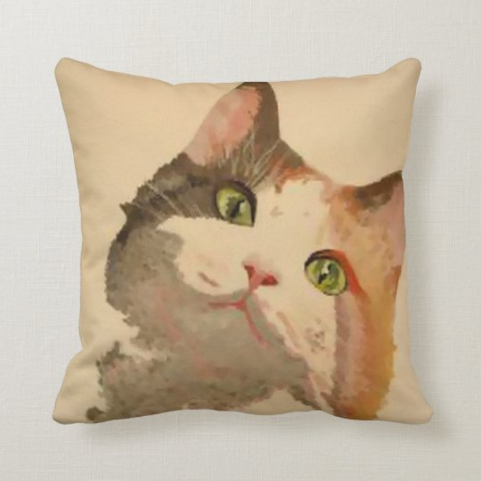 I'm All Ears: Calico Cat Portrait Throw Pillow