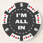 I'm All In Poker Chip Beverage Coasters