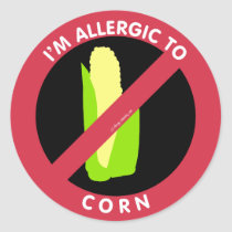 I'm Allergic To Corn Food Allergy Symbol Kids Classic Round Sticker