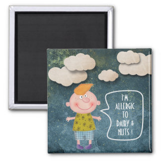 I'M ALLERGIC TO DAIRY PEANNUTS SWEET RUSTIC GIRL 2 INCH SQUARE MAGNET