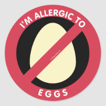 I'm Allergic To Eggs Food Allergy Symbol Kids Classic Round Sticker