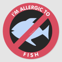 I'm Allergic To Fish Food Allergy Symbol Kids Classic Round Sticker