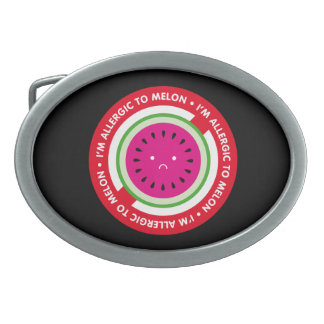I'm allergic to melon! Melon allergy Oval Belt Buckle