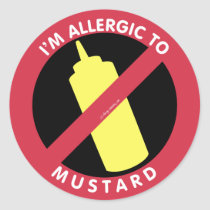 I'm Allergic To Mustard Kids Allergy Symbol Classic Round Sticker