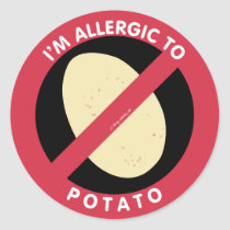 I'm Allergic To Potato Allergy Symbol Kids Classic Round Sticker