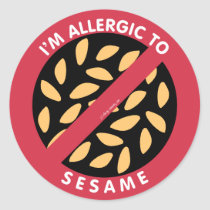 I'm Allergic To Sesame Seeds Allergy Symbol Kids Classic Round Sticker