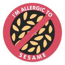 I'm Allergic To Sesame Seeds Allergy Symbol Kids Classic Round Sticker