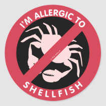 I'm Allergic To Shellfish Allergy Symbol Kids Classic Round Sticker