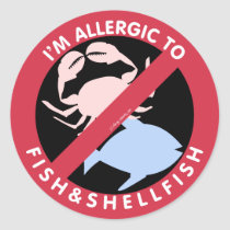 I'm Allergic To Shellfish Fish Allergy Symbol Kids Classic Round Sticker