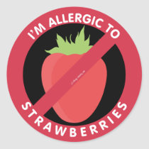 I'm Allergic To Strawberries Allergy Symbol Kids Classic Round Sticker
