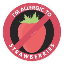 I'm Allergic To Strawberries Allergy Symbol Kids Classic Round Sticker