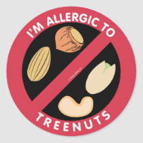 I'm Allergic To Tree Nuts Food Allergy Symbol Kids Classic Round Sticker