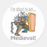 Im alrededor conseguir medieval pegatina redonda