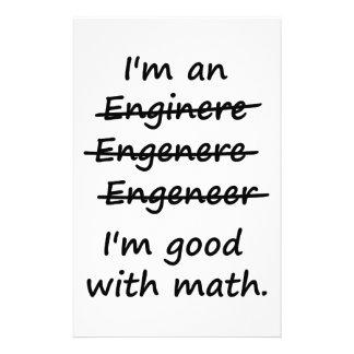 I'm an Engineer I'm Good at Math Stationery
