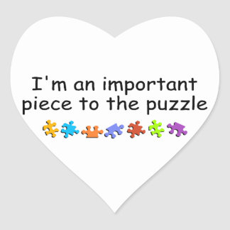 Im An Important Piece Of The Autism Puzzle Heart Sticker