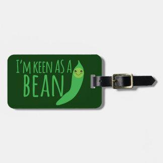 I'm as keen as a bean with cute kawaii beanie bag tag