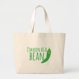 I'm as keen as a bean with cute kawaii beanie large tote bag