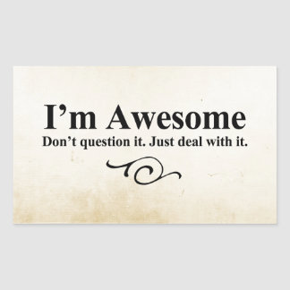 I'm awesome. Don't question it. Just deal with it. Rectangular Sticker