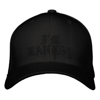 Im Banksy Olde English Black Flexfit Wool Cap Embroidered Hat