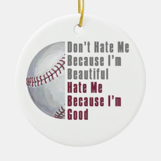 Im Beautiful Im Good Baseball Double-Sided Ceramic Round Christmas Ornament