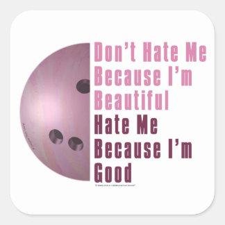 Im Beautiful Im Good Bowling Pink Square Sticker