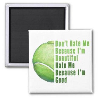 Im Beautiful Im Good Tennis Ball 2 Inch Square Magnet