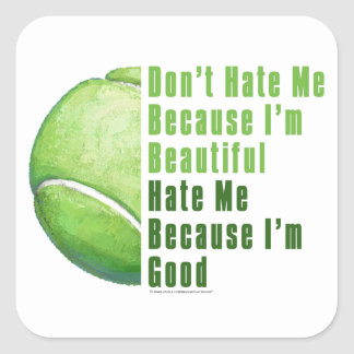 Im Beautiful Im Good Tennis Ball Square Sticker